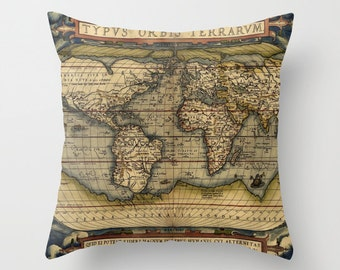 Antique World Map Throw Pillow, Vintage Map Outdoor Pillow, Old World Map Patio Decorative Pillow, Office Pillow, Office Decor, World Map