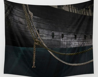 Ropes On The USS Constellation Navy Ship, Baltimore Tapestry, HDR Downtown Tapestry,City Photography,Nautical Tapestry,Inner Harbor Tapestry