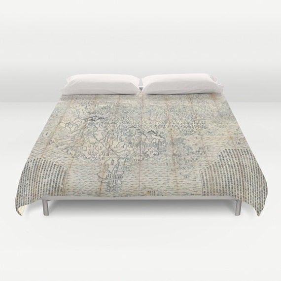 Old japanese buddhist world map duvet cover vintage world map like this item gumiabroncs Gallery