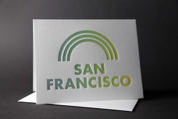 Rainbow Roll: SAN FRANCISCO letterpress card