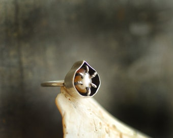 Pearl Ring, One of a Kind Ring, Thin Band, Sterling Silver, Unique Gift for Her, Alternative Engagement Ring, Promise Ring, Natural Pearl