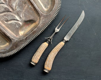 Vintage Edward Owen Horn Knife and Fork Set, Antler Cutlery, Mid Century Rustic Serving Utensils, Hand Forged, Made in Sheffield, England