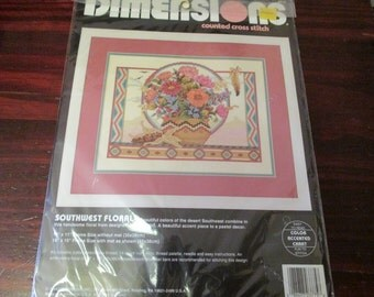 Counted Cross Stitch Kit Southwest Floral Dimensions 3775 Counted Cross Stitch Kit Judy Hand Complete and Ready to Stitch