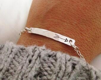 Solo - Silver Bar Bracelet - Arrow Bracelet  - sterling silver - hand stamped jewelry