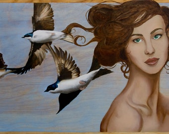 Fortune Comes in Threes - Open Edition fine art print, birds, swallows in flight print
