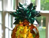 "Swarovski Crystal Pineapple Suncatcher, 30mm Topaz Swarovski Crystal Ball with Green Swarovski Crystal Octagons, Light Catcher - ""VIRGINIA"""