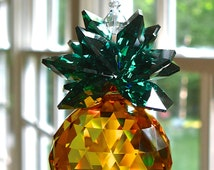 "Swarovski Crystal Pineapple Suncatcher, 30mm Topaz Swarovski Crystal Ball with Green Swarovski Crystal Octagons, Light Catcher - ""VIRGINIA"""