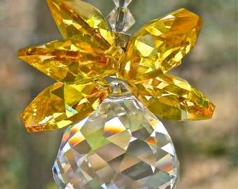 "Yellow Crystal Pineapple Window Hanger - ""OLIVIA Yellow"" - Car Ornament, Prism, Available in 14 Colors - Swarovski Crystal Suncatcher"