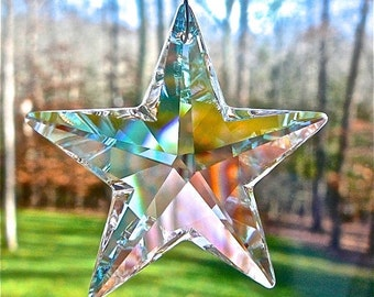 """AB Crystal Star Car Ornament Made Entirely with Swarovski Crystals - Rearview Mirror Decor, Window Hanger, Glimmers in Low Light - """"CELESTE"""""""