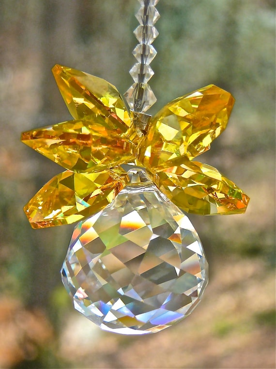 """Yellow Crystal Pineapple Window Hanger - """"Olivia Yellow"""" - Car Ornament, Prism, Available in 14 Colors - Swarovski Crystal Suncatcher"""