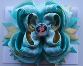 PRINCESS JASMINE from ALADIN: Large -layered Boutique style hair bow barrette