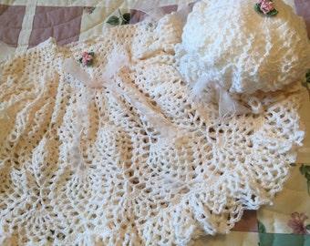 Crocheted Baby Dress, Christening Dress, Christening Gown, Dress with Full Ruffled Skirt, Baby Girl Dress, Photo Prop Baby Dress