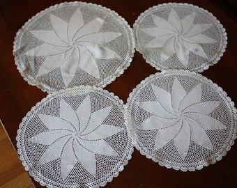 Set of Four Doilies One Large, Three Medium