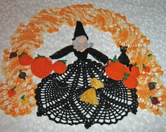 Harvest Moon Doily with witch, cat and pumpkins