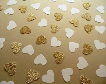 Gold Glitter Heart Confetti, Gold and White Table Scatter, Wedding Reception Decor, Party Decoration, Bridal Shower Decoration