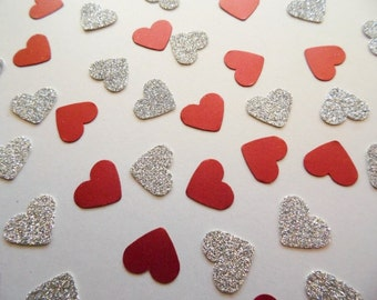 Silver Glitter Heart Confetti, Red Shimmer Hearts, Table Scatter, Wedding Reception Decor, Party Decoration, Bridal Shower Decor