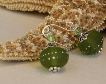 Peridot Green Earrings, Yellowish Green Lampwork Earrings, Jade Green and Silver Earring, Birthday Earrings, Peridot Jewelry, Gift for Her