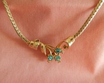 1930's Blue Rhinestone Choker Necklace - 15 Inches