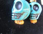 blue turquoise skull earrings- day of the dead