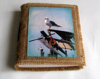 SALE seagull inspire journal - travel vacation journal, waxed burlap journal - journal SALE