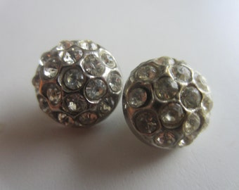 Vintage Buttons -2 matching beautiful antique silver metal, rhinestones, domed Rays design 1950's (lot july 649)