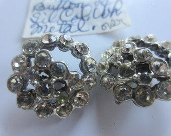 Vintage Buttons -2 matching beautiful and unique antique silver metal, rhinestones 1945- 1950's silver metal (lot aug 134)
