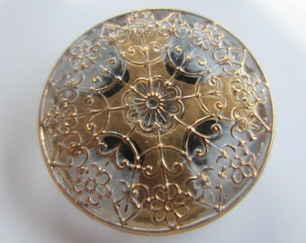Vintage button, 1 large pressed glass, reverse hand painted,gold and black design Czech (aug 103)