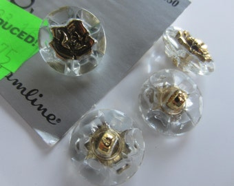 New Vintage style, 4 buttons Store stock at bargain price Acrylic with center flower  (sept 32)