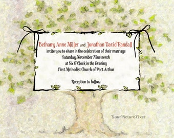 Family Tree Wedding Invitations  - several samples shown