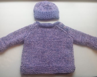 Baby Sweater, Baby Girl Sweater, Baby Purple Pink Pullover Sweater Hat Set Handknitted for Baby Gift, for Girl by hipknitta