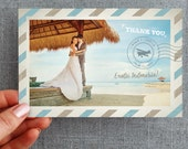 50+ Thank you, Any colors, Card, Postcard, Destination Wedding, Air Mail