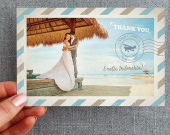 Digital Files - Thank you, Postcard, Air Mail, Destination Wedding, Any colors, Card,