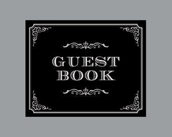 DIY Printable Guest Book Sign -  Vintage Antique Victorian Cottage Chic Rustic Chalkboard Wedding Reception Guest Book Sign