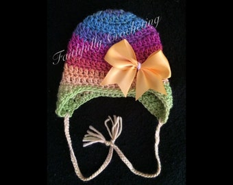 Newborn earflaps hat... Photo prop.. Ready to ship...colorful