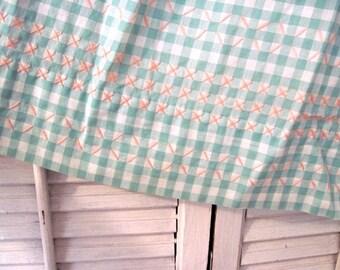 Vintage Apron - Mint Green Checkered Apron - Pink Cross Stitches - Kitchen Apron - Cottage Chic