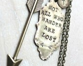FREE SHIPPING. Brass Handstamped Ornate Tag and Arrow. Not All Who Wander Are Lost. Personalized with initial