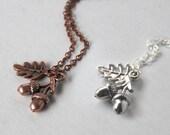 Silver or Copper Twin Silver Acorn Necklace - SALE! -