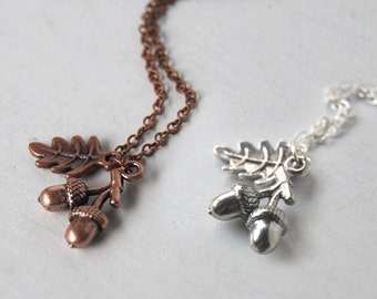 Silver or Copper Twin Silver Acorn Necklace | Fall Charm Necklace | Cute Acorn Necklace | SALE!