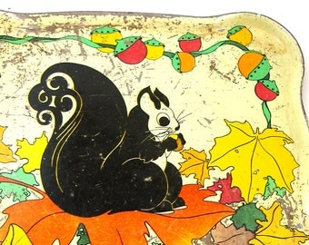 SCARCE 1930s Tin Toy Tea Tray, Black Squirrel with leaves.