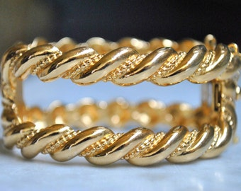 Gorgeous Napier Wide Hinged Gold Bracelet!