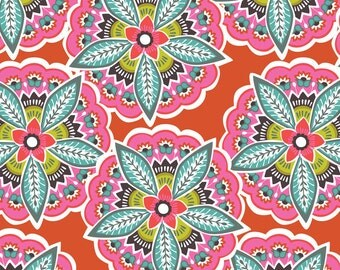 Majestic Blooms in Red Lottie from Blend Fabric 100% Quilters Cotton Available in Yards, Half Yards and Fat Quarters