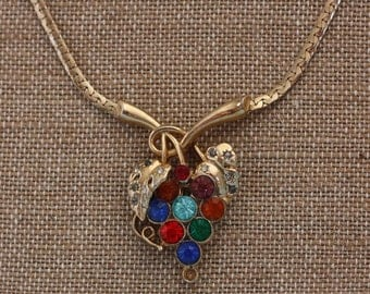 Colorful Rhinestone Grape Cluster Necklace - Vintage Costume Jewelry