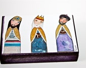 Three KIngs - ACEO Giclee print mounted on Wood (2.5 x 3.5 inches) Folk Art  by FLOR LARIOS