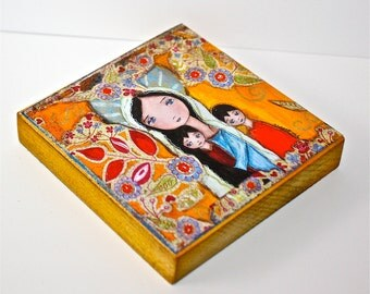 Mother with Two Sons -  Giclee print mounted on Wood (8 x 8 inches) Folk Art  by FLOR LARIOS