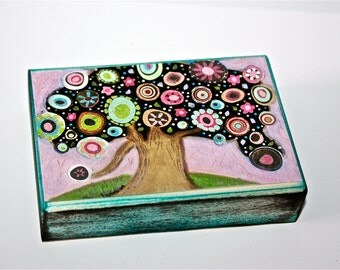 Pink Blossoms Tree - ACEO Giclee print mounted on Wood (2.5 x 3.5 inches) Folk Art  by FLOR LARIOS