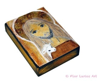 The Good Shepherd -  Giclee print mounted on Wood (6 x 8 inches) Folk Art  by FLOR LARIOS