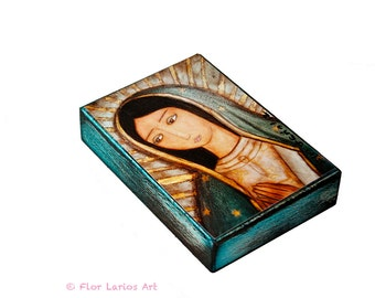 La Virgen Morena Guadalupe -  Giclee print mounted on Wood (6 x 8 inches) Folk Art  by FLOR LARIOS