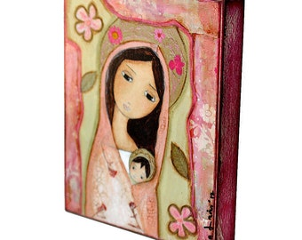 Madonna in Pink - Giclee print mounted on Wood (8 x 10 inches) Folk Art  by FLOR LARIOS