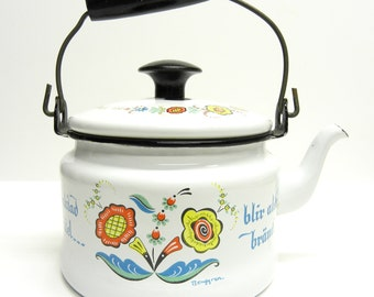 Vintage enamel Berggren teapot . beautiful Swedish enamelware . 1960s mod 1970s . great for display in your country chic kitchen