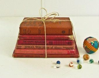 Red Children's Book Bundle, Classic Vintage Books, Instant Decorative Library